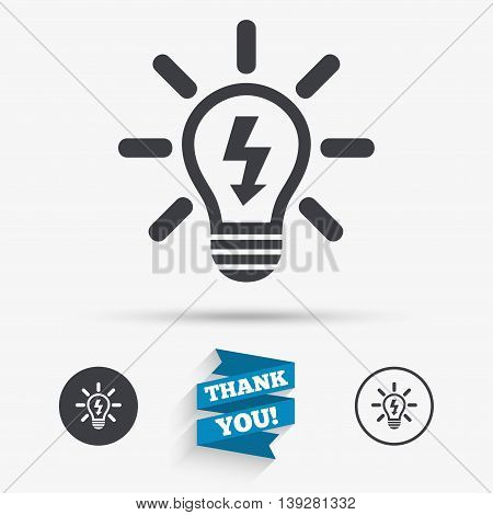 Light lamp sign icon. Bulb with lightning symbol. Idea symbol. Flat icons. Buttons with icons. Thank you ribbon. Vector