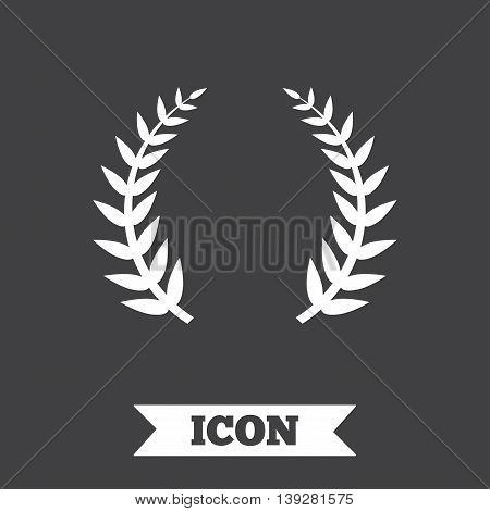 Laurel Wreath sign icon. Triumph symbol. Graphic design element. Flat laurel wreath symbol on dark background. Vector