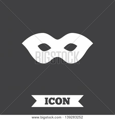 Mask sign icon. Anonymous spy access symbol. Graphic design element. Flat mask symbol on dark background. Vector