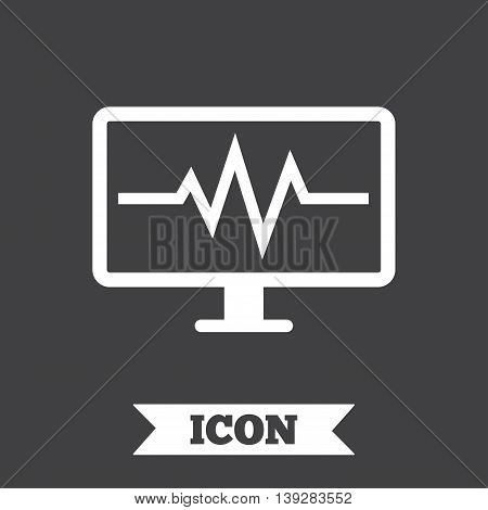 Cardiogram monitoring sign icon. Heart beats symbol. Graphic design element. Flat cardiogram symbol on dark background. Vector