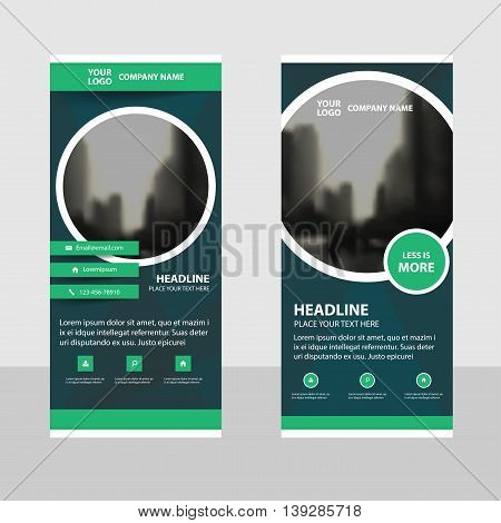 Green Circle Business Roll Up Banner flat design template Abstract Geometric banner template Vector illustration set abstract presentation brochure flyer template vertical template vector