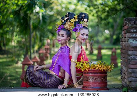 Thailand Lanna women dress .Thai woman dressing traditional. Wearing on important Day New Year's Day/ Culture traditional Day