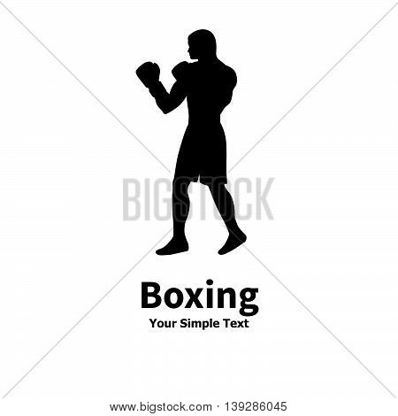 Vector illustration of a silhouette of a boxer isolated on white background.
