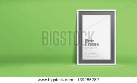Vector, Blank Photo Frame In Lime Green Studio Room, Template Mock Up For Display Or Montage Of Your