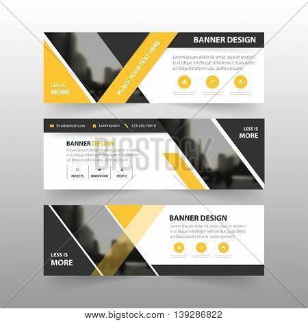 Yellow black triangle corporate business banner template horizontal advertising business banner layout template flat design set clean abstract cover header background for website design