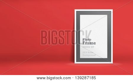Vector, Blank Photo Frame In Red Studio Room, Template Mock Up For Display Or Montage Of Your Conten