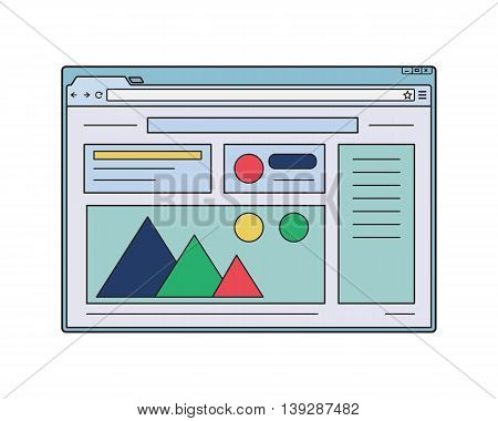 Web browser window mockup. Internet window with website page template. Web page wireframe
