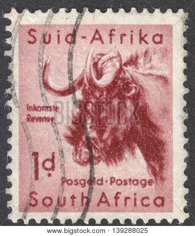MOSCOW RUSSIA - CIRCA JANUARY 2016: a post stamp printed in SOUTH AFRICA shows a black wildebeest the series