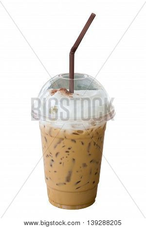 Iced cappuccino coffee with straw in plastic cup isolated on white background. Selective focus.
