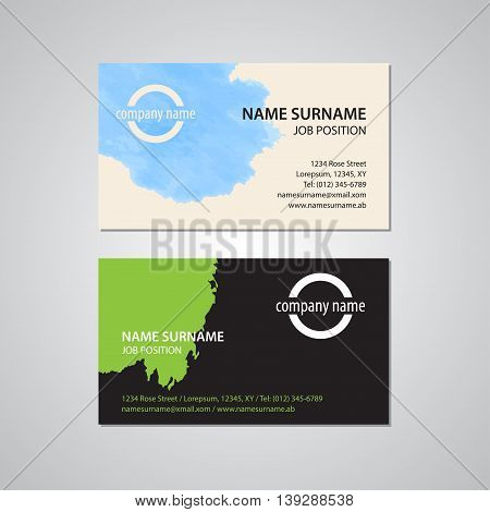 set of two business cards with stain - Canada and USA standard 35 x 2 in or 889 x 508 mm