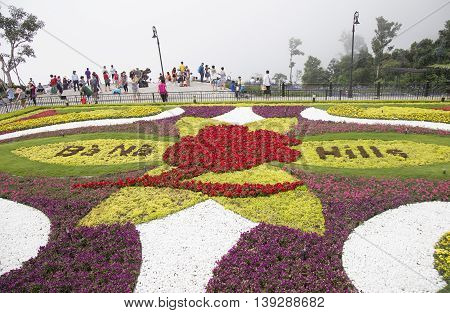 Da Nang, Vietnam - Jun 20, 2016: View of a floral garden on Ba Na Hills mountain resort. The resort is held and managed by one of the biggest Vietnamese corporation, Sun Group.