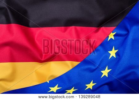 Flags of the Germany and the European Union. Germany Flag and EU Flag. World flag money concept.