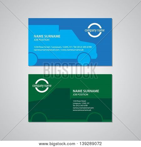set of two business cards with cars Canada and USA standard 35 x 2 in or 889 x 508 mm