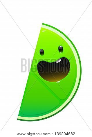 bright juicy tasty green lime cartoon character fun