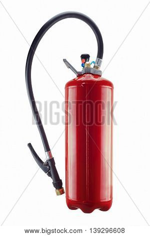 red fire extinguisher isolated and its on white background