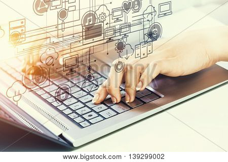Woman typing on keyboard . Mixed media