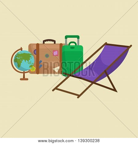 Traveling bag suitcase for trip or vocation, tourism icon baggage for voyage, vector illustration. Summer vocations tourist concept, packaging label sticker on travel bag suitcase isolated