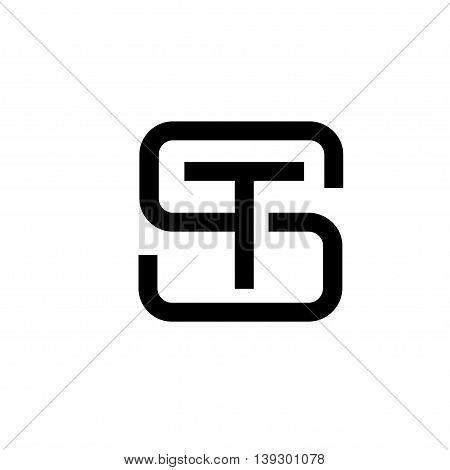 letter S, ST, letter LT flat modern  black color logo design