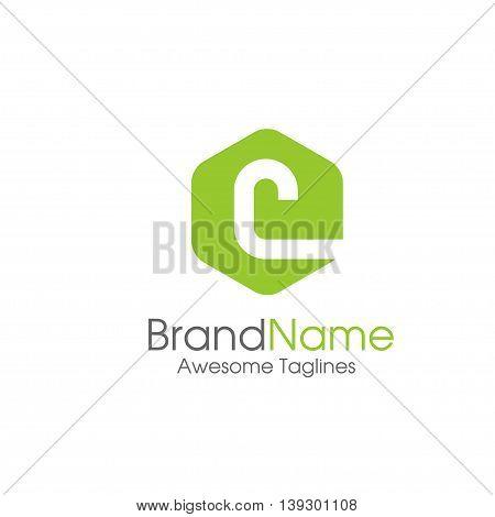 letter C logo design template. letter C creative hexagon sign