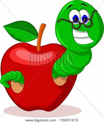 cute caterpillar and apple for you design