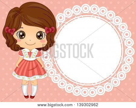 Frame Illustration of a Cute Little Girl in a Frilly Dress