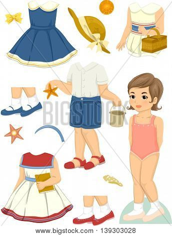Illustration Featuring a Paper Doll and a Set of Summer Clothes