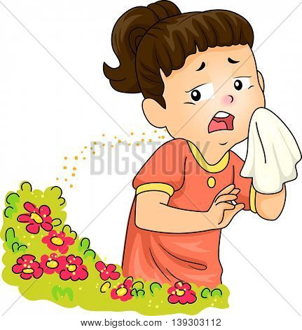 Illustration of a Little Girl Sneezing After Being Exposed to Pollen
