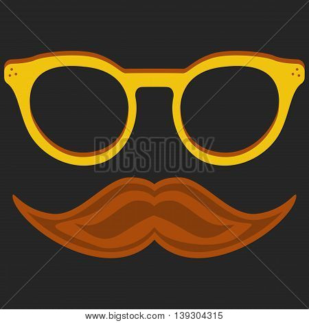 Hipster nerd glasses and stylish mustache on black. Web Banner Vector Flat Design .Vector Mustache and Glasses Icon. Hipster creative design template illustration