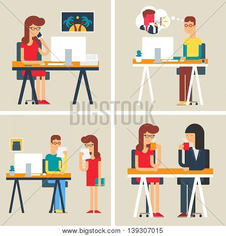 Office situations, workday, business people. Set of vector illustrations