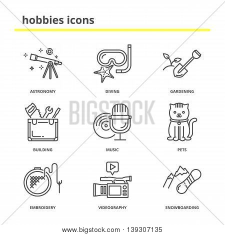 Hobbies vector icons set: astronomy, diving, gardening, building, music, pets, embroidery, videography, snowboarding. Line style, education concept