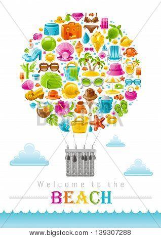 Beach sea summer concept design with travel symbols icon set. White background. Suitcase, starfish, beach parasol, sunglasses, sea turtle, cocktail, hawaii palm island, straw hat, pearl, bikini, sun poster