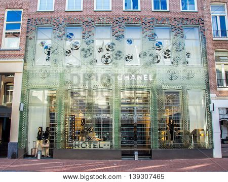 Amsterdam the Netherlands - April 13 2016: chanel store in P.C. Hooftstraat Amsterdam