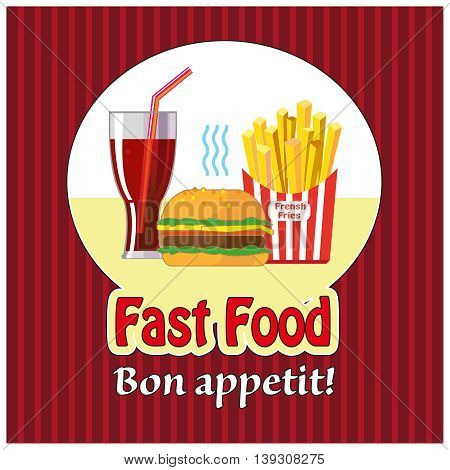 Lunch fries, burger and sodfrench a takeaway. Flat design. Fizzy drink, hot dog, cheeseburger, hamburger and other restaurant menu elements. Vector illustration.