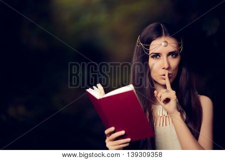 Fairy Princess Girl Reading Mysterious Secret Book