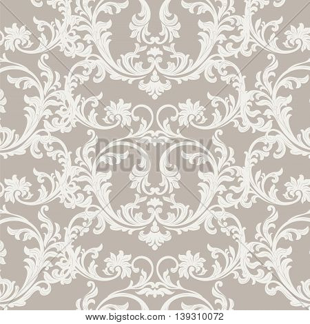 Vintage Floral ornament damask pattern. Elegant luxury texture for texture fabric backgrounds and invitation cards. Beige color. Vector