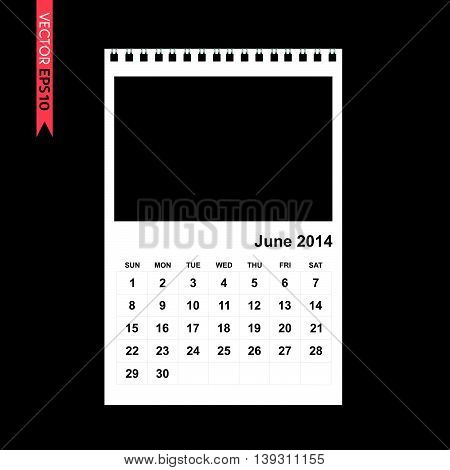 June 2014 calendar vector on black color background