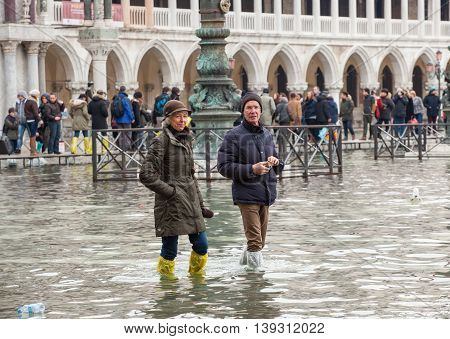 High Water In Venice, Italy.
