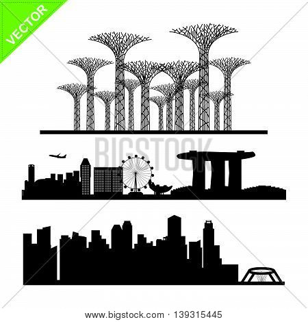 Singapore city landmark silhouettes vector on white color background