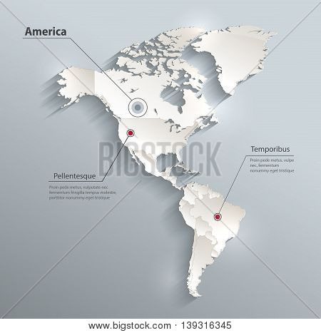 America political map 3D vector individual states separate