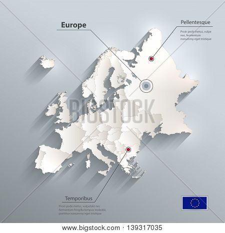 Europe political map flag 3D vector individual states separate