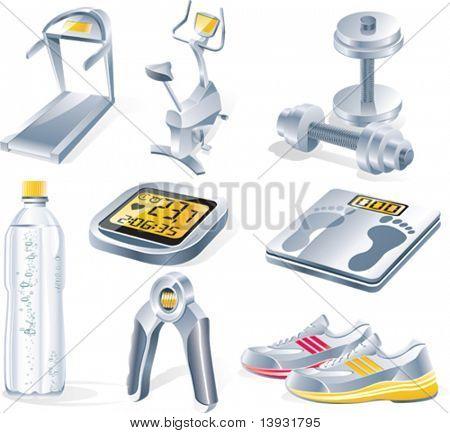 Vector fitness equipment icon set