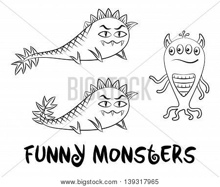 Set of Cute Different Cartoon Characters, Monsters, Elements for your Design, Prints and Banners, Black Contour Isolated on White Background. Vector
