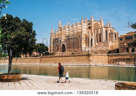Palma de Mallorca Spain - May 27 2016: La Seu the gothic medieval cathedral of Palma de Mallorca Spain. The Cathedral of Santa Maria of Palma