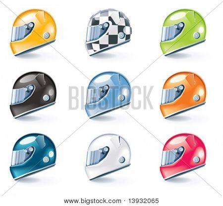 Vector racing helmets icons
