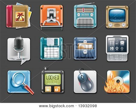 Vector universal square icons. Part 3 (gray background)