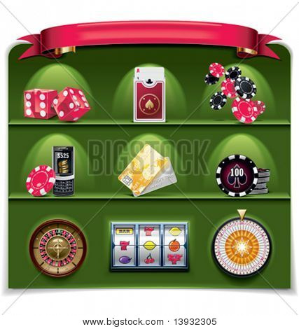Vector gambling icon set. Part 2 (green background)