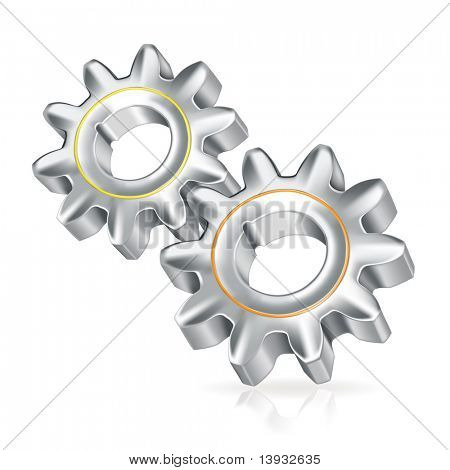 Two gears icon, mesh