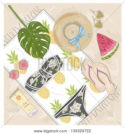 Summer fashion vector accessories set. Background with sunglasses shoes jewelery makeup swimsuit and palm. Beach fashion flat lay