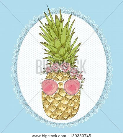 Cute hipster pineapple with sunglasses and flower crown.