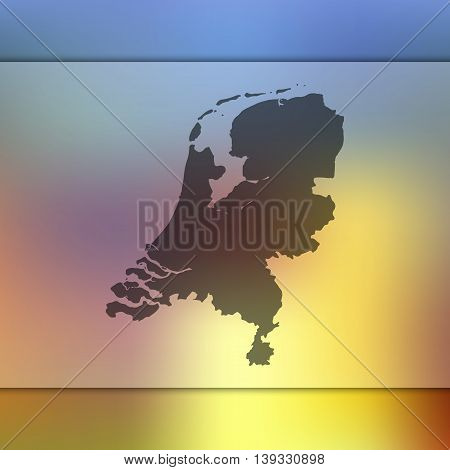 Netherlands map on blurred background. Blurred background with silhouette of Netherlands. Netherlands. Netherlands map.